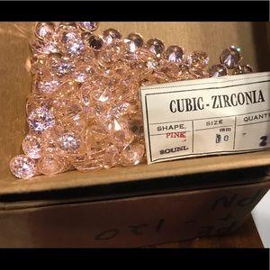 5 Vintage pink 9.5mm CZ round stone nice stuff new